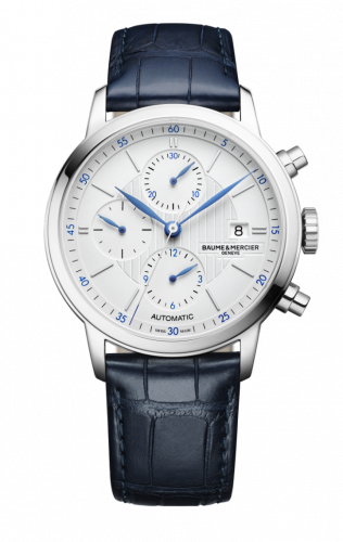 Baume & Mercier 10330 : Classima Chronograph Stainless Steel / Silver / Alligator