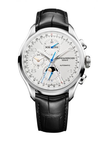 10278 : Baume & Mercier Clifton Chronograph Complete Calendar Stainless Steel / Silver / Strap