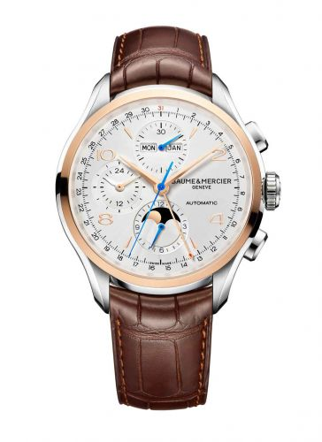 Baume & Mercier 10280 : Clifton Chronograph Complete Calendar Stainless Steel / Red Gold / Silver / Strap