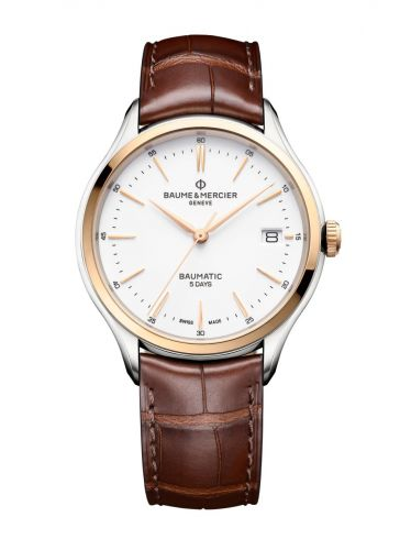 10401 : Baume & Mercier Clifton Baumatic Stainless Steel / Yellow Gold / White / Alligator