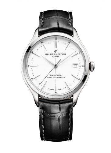 10436 : Baume & Mercier Clifton Baumatic Stainless Steel / White / Alligator / COSC