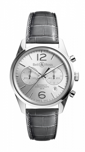 Bell & Ross BRG126-WH-ST/SCR : BR 126 Officer Silver Chronograph