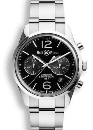 Bell & Ross BRG126BLSTSST : BR 126 Officer Black Chronograph