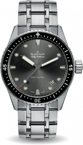 Blancpain 5000-1110-70B : Fifty Fathoms Bathyscaphe Stainless Steel / Grey / Bracelet