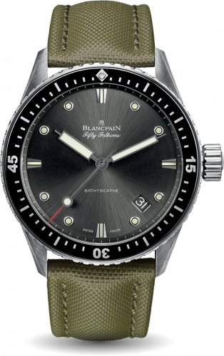 Blancpain 5000-1110-K52A : Fifty Fathoms Bathyscaphe Stainless Steel / Grey / Sand Canvas