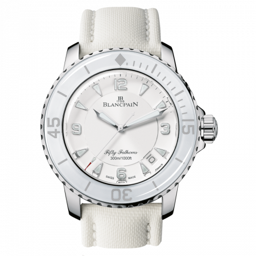 Blancpain 5015-1127-52A : Fifty Fathoms Automatique Stainless Steel / White / White Canvas