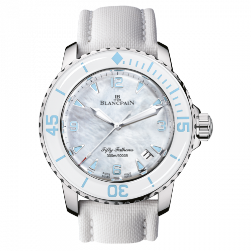 Blancpain 5015A-1144-52A : Fifty Fathoms Automatique Stainless Steel / White Mother Of Pearl / White Canvas