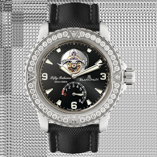 Blancpain 5025-9430-52A : Fifty Fathoms Tourbillon 8 Jours White Gold / Diamonds / Black Canvas
