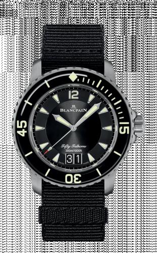 Blancpain  5050-12B30-NABA : Fifty Fathoms Automatique Grande Date Titanium / Black / Black NATO