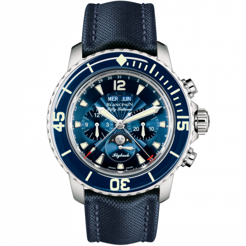 Blancpain 5066F-1140-52B : Fifty Fathoms Chronographe Flyback Quantieme Complet Stainless Steel / Blue / Blue Canvas