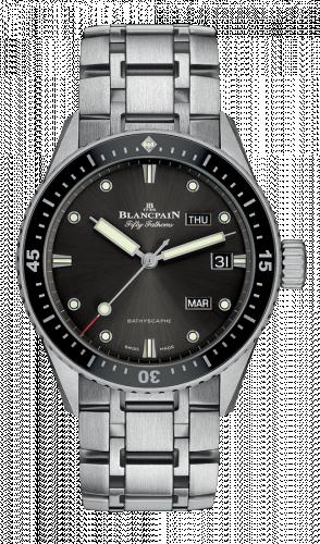 Blancpain  5071-1110-70B : Fifty Fathoms Bathygraphe Quantième Annuel Black / Grey / Steel Bracelet