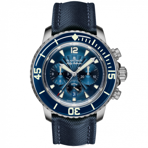 Blancpain 5085F.B-1140-52B : Fifty Fathoms Chronographe Flyback Stainless / Blue / Blue Canvas
