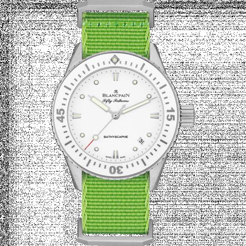 Blancpain 5100-1127-NAH : Fifty Fathoms Bathyscaphe Stainless Steel / White / Green Nato