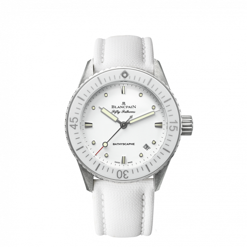 Blancpain 5100-1127-W52A : Fifty Fathoms Bathyscaphe Stainless Steel / White / White Canvas