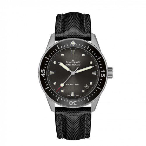 Blancpain 5100B-1110-B52A : Fifty Fathoms Bathyscaphe Stainless Steel / Grey / Black Canvas