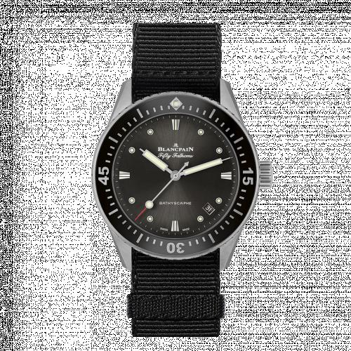 Blancpain 5100B-1110-NABA : Fifty Fathoms Bathyscaphe Stainless Steel / Grey / Black Nato