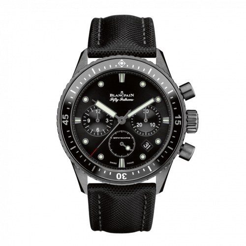 Blancpain 5200-0130-B52A : Fifty Fathoms Bathyscaphe Flyback Chronograph Black Ceramic / Black / Black Canvas