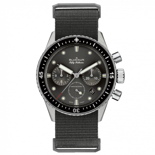 Blancpain 5200-1110-NABA : Fifty Fathoms Bathyscaphe Flyback Chronograph Stainless Steel / Grey / Black Nato