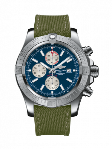 Breitling A1337111/C871/105W/A20BA.1 : Super Avenger II Stainless Steel / Mariner Blue / Military / Pin