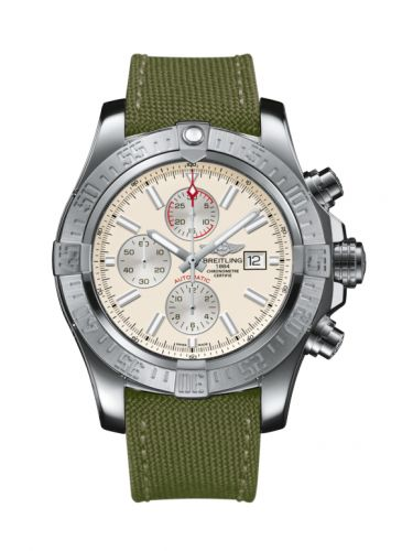 Breitling A1337111/G779/105W/A20BA.1 : Super Avenger II Stainless Steel / Stratus Silver / Military / Pin