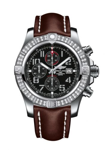Breitling A1337153/BC28/443X/A20BA.1 : Super Avenger II Stainless Steel / Diamond / Volcano Black / Calf / Pin