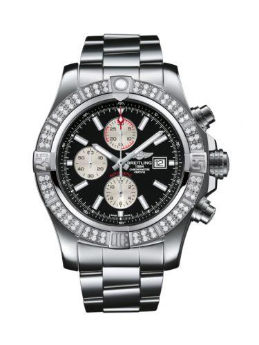 Breitling A1337153/BC29/168A : Super Avenger II Stainless Steel / Diamond / Volcano Black / Bracelet