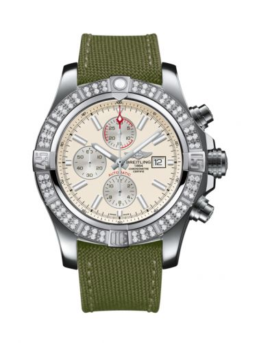Breitling A1337153/G779/105W/A20BA.1 : Super Avenger II Stainless Steel / Diamond / Stratus Silver / Military / Pin