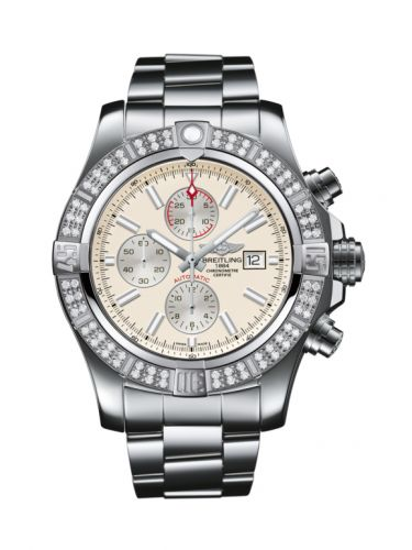 Breitling A1337153/G779/168A : Super Avenger II Stainless Steel / Diamond / Stratus Silver / Bracelet