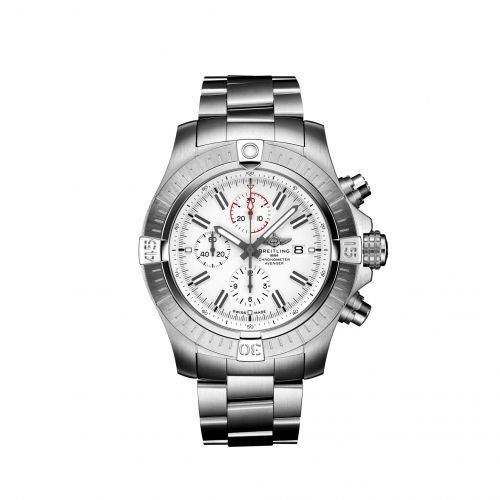 Breitling A133751A1A1A1 : Avenger Chronograph 48 Stainless Steel / White / Calf / Bracelet