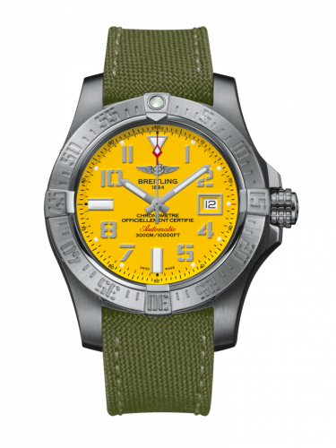 Breitling A1733110/I519/106W/A20BASA.1 : Avenger II Seawolf Stainless Steel / Cobra Yellow / Military / Pin