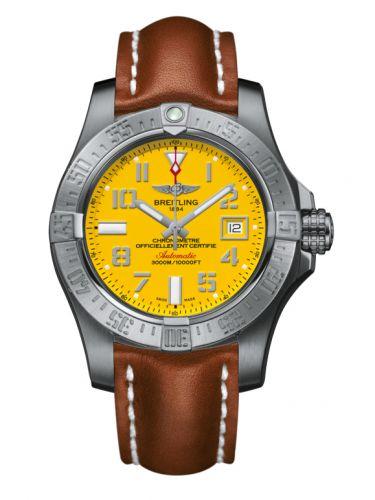 Breitling A1733110/I519/433X/A20BASA.1 : Avenger II Seawolf Stainless Steel / Cobra Yellow / Calf / Pin