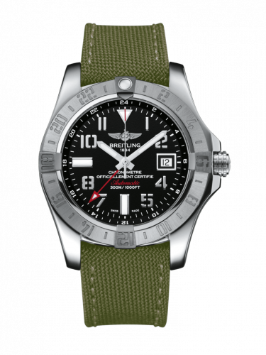 Breitling A3239011/BC34/106W/A20BA.1 : Avenger II GMT Stainless Steel / Volcano Black / Military / Pin