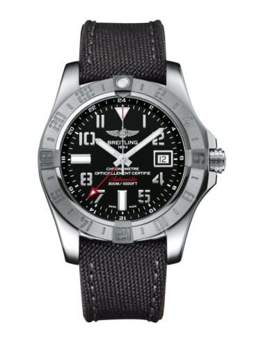 Breitling A3239011/BC34/109W/A20BA.1 : Avenger II GMT Stainless Steel / Volcano Black / Military / Pin