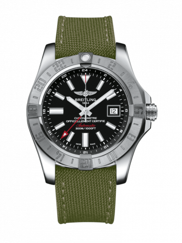 Breitling A3239011/BC35/106W/A20BA.1 : Avenger II GMT Stainless Steel / Volcano Black / Military / Pin