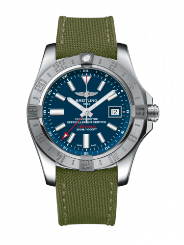 Breitling A3239011/C872/106W/A20BA.1 : Avenger II GMT Stainless Steel / Mariner Blue / Military / Pin