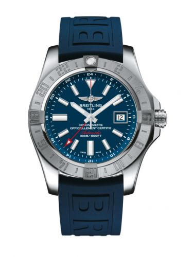 Breitling A32390111C1S2 : Avenger II GMT Stainless Steel / Mariner Blue / Rubber / Pin