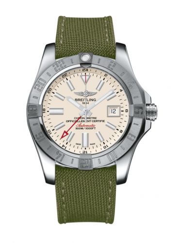 Breitling A3239011/G778/106W/A20BA.1 : Avenger II GMT Stainless Steel / Stratus Silver / Military / Pin