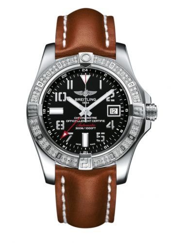 Breitling A3239053.BC34.433X : Avenger II GMT Stainless Steel / Diamond / Volcano Black / Calf
