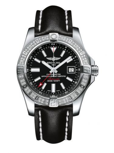 Breitling A3239053.BC35.435X : Avenger II GMT Stainless Steel / Diamond / Volcano Black / Calf