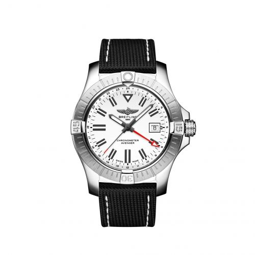Breitling A32397101A1X1 : Avenger Automatic GMT 43 Stainless Steel / White / Calf / Pin