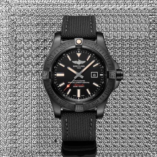Breitling V17310101B1W1 : Avenger Blackbird 48 Black Titanium / Volcano Black / Military / Pin