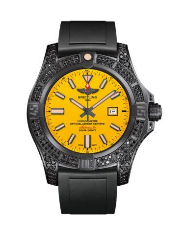 Breitling V17311AU.I526.134S : Avenger Blackbird 44 Black Titanium / Diamondworks / Cobra Yellow / Rubber