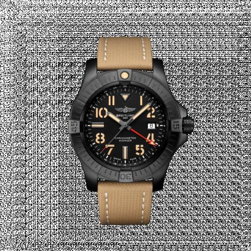 Breitling V32395101B1X2 : Avenger Automatic GMT 45 Night Mission / Black / Military / Folding
