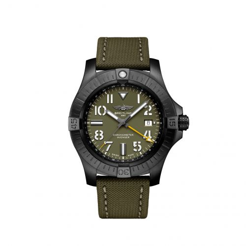 Breitling V323952A1L1X2 : Avenger Automatic GMT 45 Night Mission / Green / Military / Folding