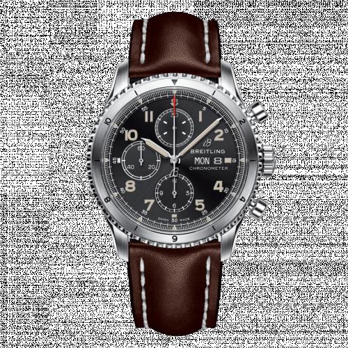 Breitling A13316101B1X4 : Aviator 8 Chronograph 43 Stainless Steel / Black / Calf / Folding