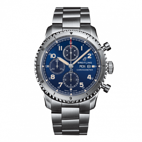 Breitling A13316101C1A1 : Aviator 8 Chronograph 43 Stainless Steel / Blue / Bracelet