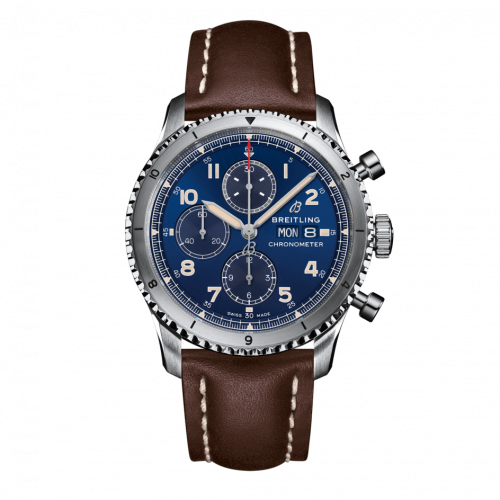 Breitling A13316101C1X2 : Aviator 8 Chronograph 43 Stainless Steel / Blue / Calf / Pin