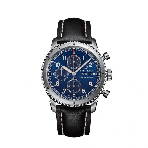 Breitling A13316101C1X3 : Aviator 8 Chronograph 43 Stainless Steel / Blue / Calf / Folding