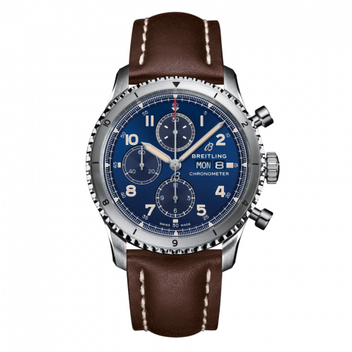 Breitling A13316101C1X4 : Aviator 8 Chronograph 43 Stainless Steel / Blue / Calf / Folding