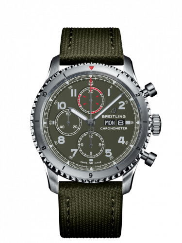 Breitling A133161A1L1X2 : Aviator 8 Chronograph 43 Stainless Steel / Curtiss Warhawk / Canvas / Folding